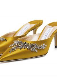 JIMMY CHOO Rav crystal-embellished mules in sun-yellow ~ luxury satin point toe mule