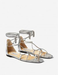 JIMMY CHOO Tassel-embellished metallic leather sandals in silver/crystal