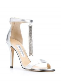 JIMMY CHOO Viola 100mm tassel sandals in silver leather ~ glamour statement