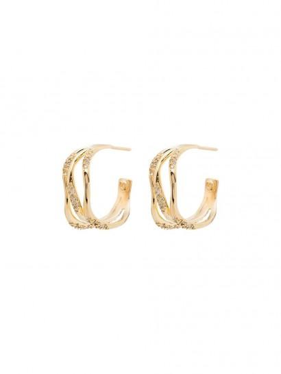 JOANNA LAURA CONSTANTINE Feminine Waves hoop earrings   crystal triple hoops