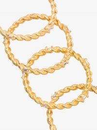 Joanna Laura Constantine Gold-Plated Twisted Crystal Ring Set