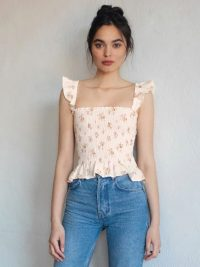 REFORMATION Junebug Top Mildred ~ ruffle edged summer tops