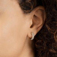 THE LAST LINE DIAMOND PAVÉ WIDE HOOP EARRING   small luxe single hoops