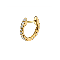 Brie Larson earrings, THE LAST LINE MEDIUM DIAMOND HUGGIE EARRING, one of the earrings worn during her interview with Tina Tchen of Times Up, 5 May 2020 | celebrity jewellery
