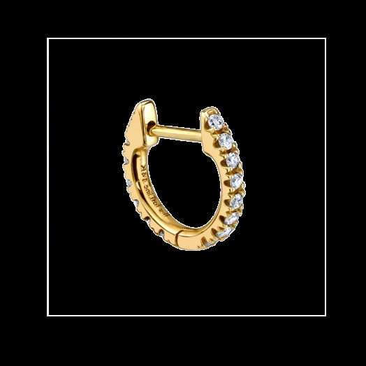 Brie Larson earrings, THE LAST LINE MEDIUM DIAMOND HUGGIE EARRING, one of the earrings worn during her interview with Tina Tchen of Times Up, 5 May 2020   celebrity jewellery - flipped