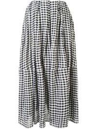 KHAITE The Meryl black and white cotton gingham skirt