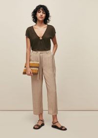 WHISTLES TORT RING LINEN TOP KHAKI