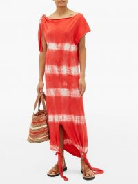 LOEWE PAULA'S IBIZA Red knotted tie-dye dress / poolside dresses / cover-up