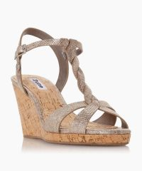 Dune Koala Pewter Plait T-Bar Strap Cork Wedge Heel