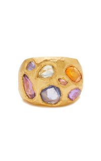 Page Sargisson 18KT Gold Rainbow Sapphire Cocktail Ring / chunky gemstone rings