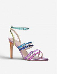 KURT GEIGER LONDON Pierra rainbow leather heeled sandals – strappy heels