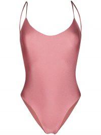 LA REVECHE metallic-sheen v-neck one-piece ~ pink onepiece