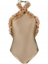 LA REVECHE ruffled backless swimsuit in dark beige