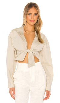 L'Academie The Neva Top Khaki | front tie tops