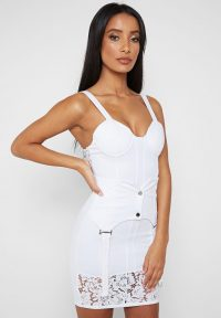 Manière De Voir LACE AND SUSPENDER DETAIL DRESS WHITE