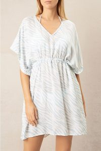 HEIDI KLEIN Lake Nakuru Drawstring Mini Kaftan / zebra prints / beach cover-up