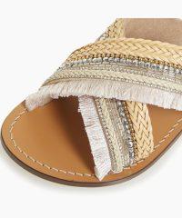 Dune Lakely Natural Embellished Cross Over Strap Sandal | flat summer sandals