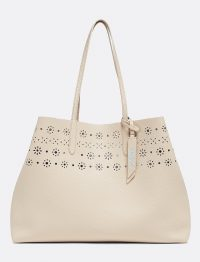 DRAPER JAMES Laser Cut Reverisible Tote in Putty