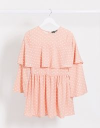 Lasula polka dot shift dress in pink / pretty frill overlay frock