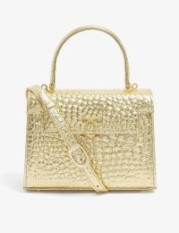 LAUNER Judi croc-embossed leather top handle bag in wendy lamé gold ~ glamorous handbags ~ instant glamour