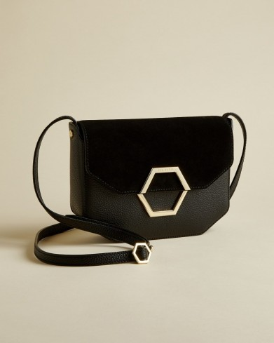 TED BAKER LENAH Leather and suede hexagon detail cross body bag in jet black / essential day style