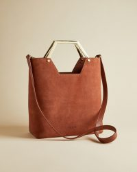 TED BAKER LAYAH Leather and suede hexagon handle shopper bag in dark tan / brown textured shoppers