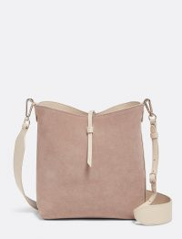 DRAPER JAMES Leather Reversible Bucket Bag in Putty