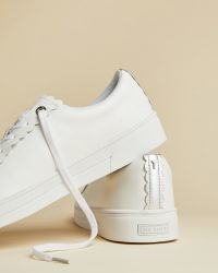 TED BAKER TILLYS White leather scalloped edge trainer