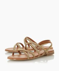 Dune Lecture Gold Braided Diamante Strap Sandal