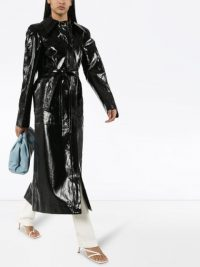 LEMAIRE belted coated trench coat in black | high shine coats