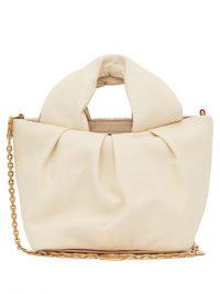 STAUD Lera chain-strap cream-leather top handle bag ~ small luxurious tote