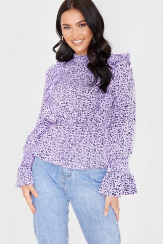 IN THE STYLE LILAC FLORAL FLARE SLEEVE FRILL TOP