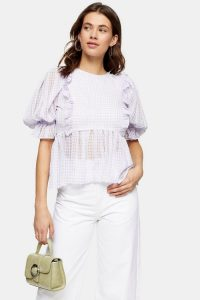 TOPSHOP Lilac Gingham Puff Sleeve Blouse – frill trimmed check print blouses