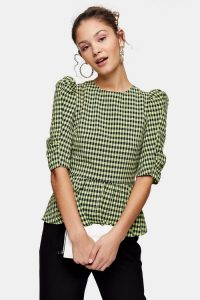 TOPSHOP Lime Green Gingham Lace Up Puff Sleeve Blouse