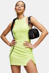 TOPSHOP Lime Green Racer Sequin Mini Dress