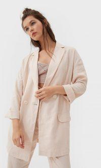 STRADIVARIUS Linen blazer Salmon Pink – longline summer jacket