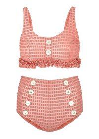 LISA MARIE FERNANDEZ Colby pink jacquard bikini / vintage look high waist bikinis