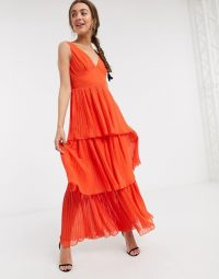 Little Mistress Petite tiered maxi dress in orange
