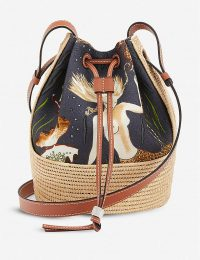 LOEWE Loewe x Paula's Balloon Mermaid-print canvas and raffia small shoulder bag / drawstring bags / mermaids