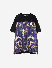 LOEWE Loewe x Paula's oversized mermaid-print silk and cotton-blend T-shirt in black/blue / printed mermaids / tee