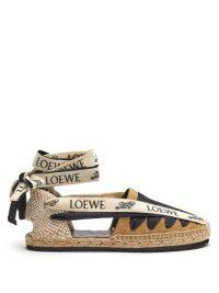 LOEWE PAULA'S IBIZA Logo-print tie suede & jute espadrilles in beige | classic ankle tie espadrille