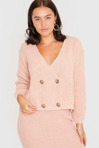 LORNA LUXE BLUSH COPENHAGEN DOUBLE BREASTED KNITTED CARDIGAN