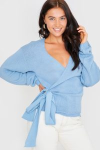 LORNA LUXE 'BUT FIRST' LIGHT BLUE WRAP CARDIGAN