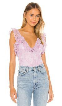 Lovers + Friends Eloise Bodysuit Lilac Purple | ruffle trimmed bodysuits