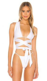 Lovers + Friends Let Loose Bikini Top White | plunge-front wrap style bikinis