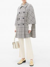 GUCCI Madras wool-blend cape ~ black and white checked capes
