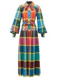 GUCCI Madras-check pleated cotton fil-á-fil shirt dress / bold prints