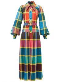 GUCCI Madras-check pleated cotton fil-á-fil shirt dress / bold prints