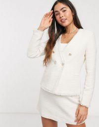 Mango blazer and skirt boucle suit co-ord in cream