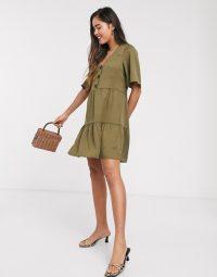 Mango buttoned mini smock dress in khaki – tiered green dresses